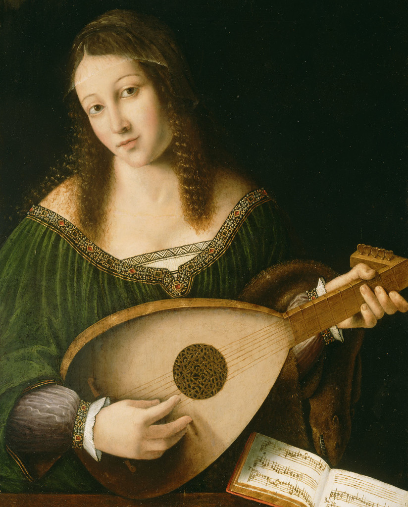 Lady Playing a Lute; Bartolomeo Veneto and workshop (Italian, died 1531, active 1502 - 1555); about 1530; Oil on panel; 55.9 x 41.3 cm (22 x 16 1/4 in.); 78.PB.221